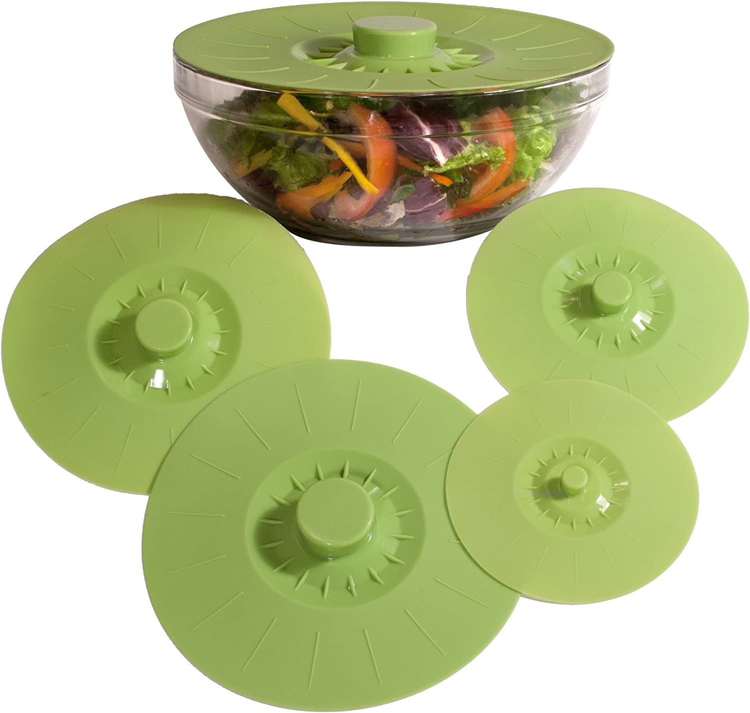 Silicone Bowl Lids Green Set of 5 Reusable Suction Seal Covers for Bowls, Pots, Cups. Food Safe. Natural grip, interlocking handles for easy use and storage.