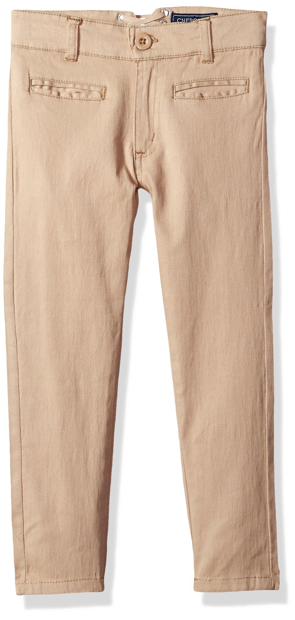 Cherokee Little Girls' Uniform Strectch Twill Skinny Pant with Lace Detail, Khaki, 5