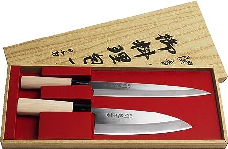 Juego de 2 Cuchillos Japoneses SekiRyu Sashimi y Deba - SR601. Cuchilla de Acero Inoxidable