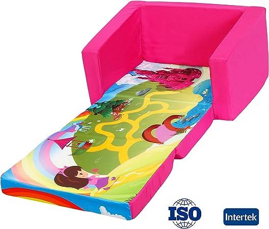 Blu MALLBOO Divani per Bambini Divano Letto per Bambini Divano Imbottito per Bambini Pigiama per sedie Sgabello Pieghevole Reclinabile