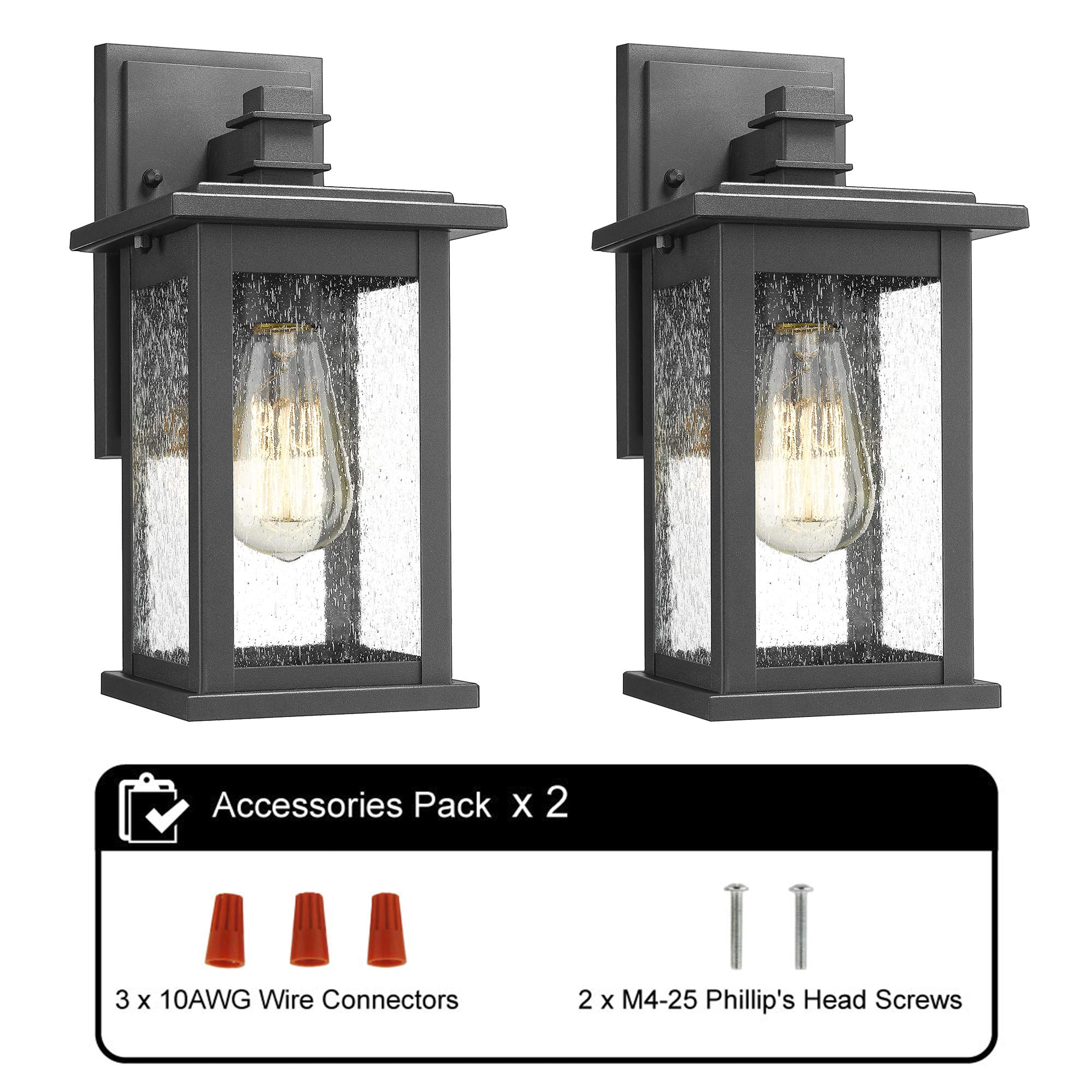 Emliviar Outdoor Wall Mount Lights 2 Pack, 1-Light Exterior Sconces Lantern in Black Finish with Clear Seeded Glass, OS-1803EW1-2PK by EMLIVIAR (Image #8)
