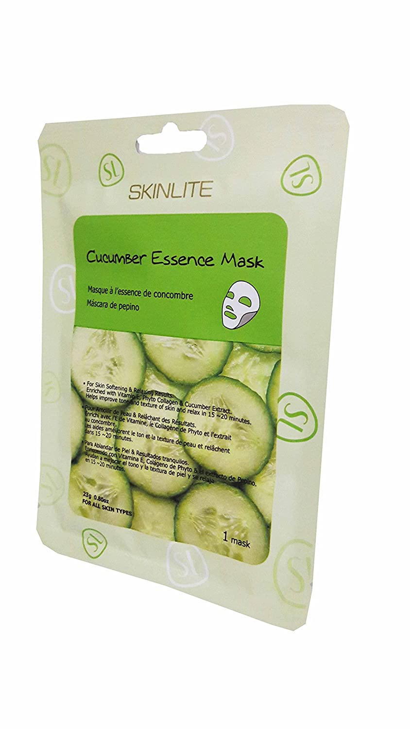 Amazon.com : 4 Packs of SKINLITE Cucumber Essence Mask, for Skin Softening & Relaxing Results. Enriched with Vitamin E, Phyto Collagen & Cucumber Extract., ...