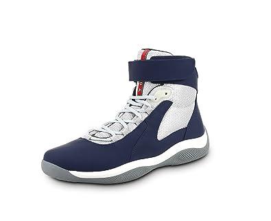 Prada Men's Punta Ala High Top Sneaker, Blue (Baltico) 4T2964 (8.5 US