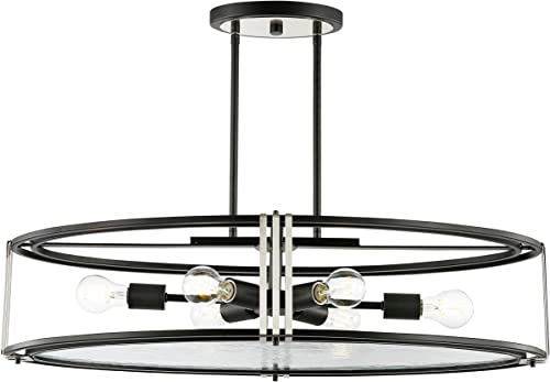 Light Society LS-C362-BK-CL Roque 6 Chandelier Island Light, Black Clear
