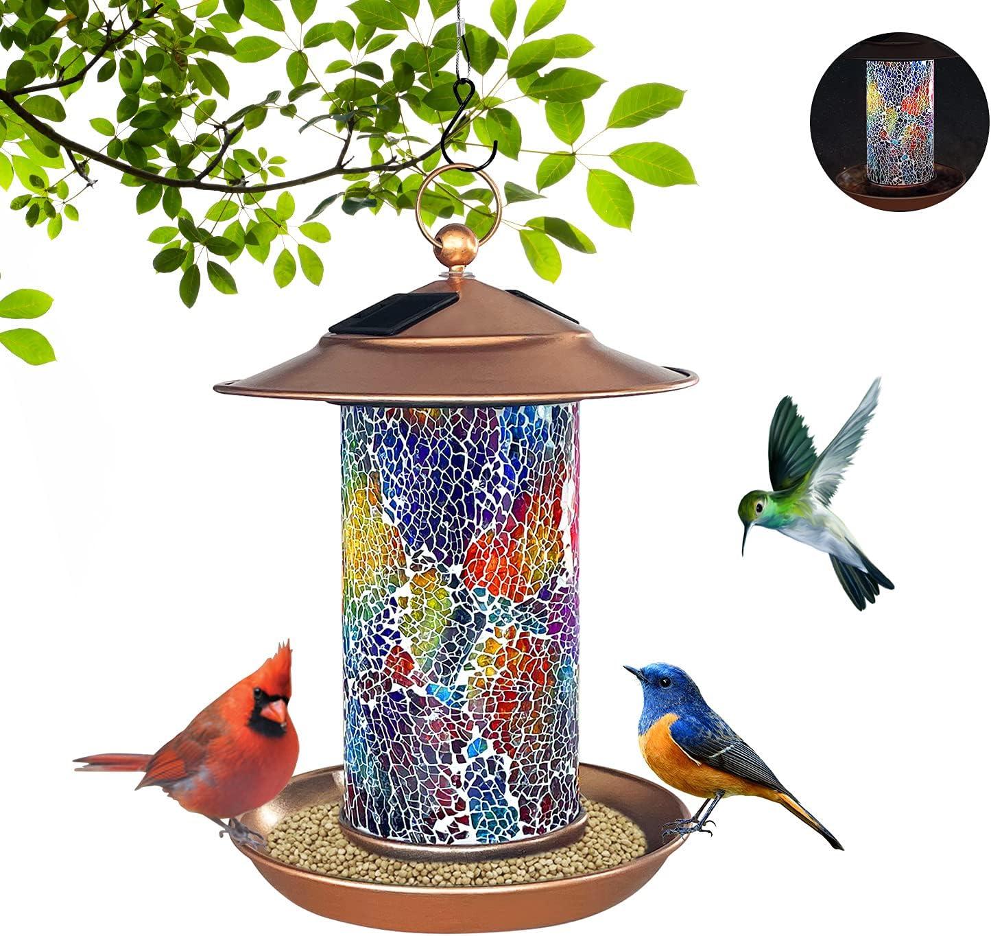 Solar Bird Feeder, FURANDE Outdoor Hanging Wild Birdfeeder with Colorful Glass Mosaic Decor, Waterproof Solar Powered Garden Lantern Copper Bird House with Hook as Gift Ideas for Bird Lovers