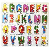 WISHKEY Wooden English Alphabet A to Z Shapes with Knob,Early Educational Preschool Board for Kids