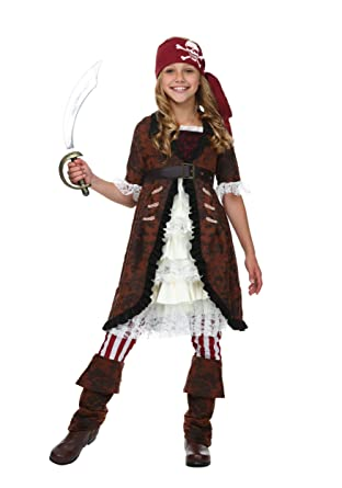 Fun Costumes Brown Coat Pirate Costume Medium (8-10)  sc 1 st  Amazon.com & Amazon.com: Fun Costumes girls Girlu0027s Brown Coat Pirate Costume ...