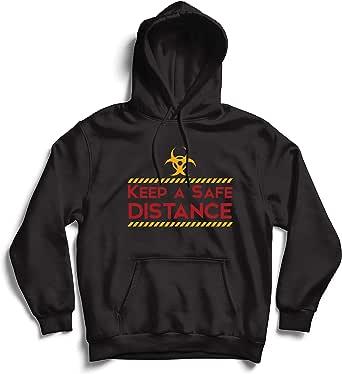 lepni.me Hoodie Sweatshirt Keep a Safe Distance Stay Safe Social Distancing Slogan