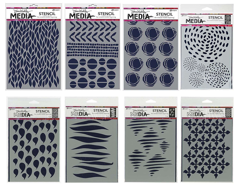 Dina Wakley Media 8 Stencil Bundle | Dollops, Tornado, Leafy, Mini Favorites, Wallpaper, Gusts, Fractured Circles, Swirling Dashes