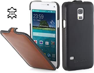 StilGut UltraSlim Case, Custodia in Vera Pelle per Samsung Galaxy S5 Mini, Marrone/Nero - Nappa