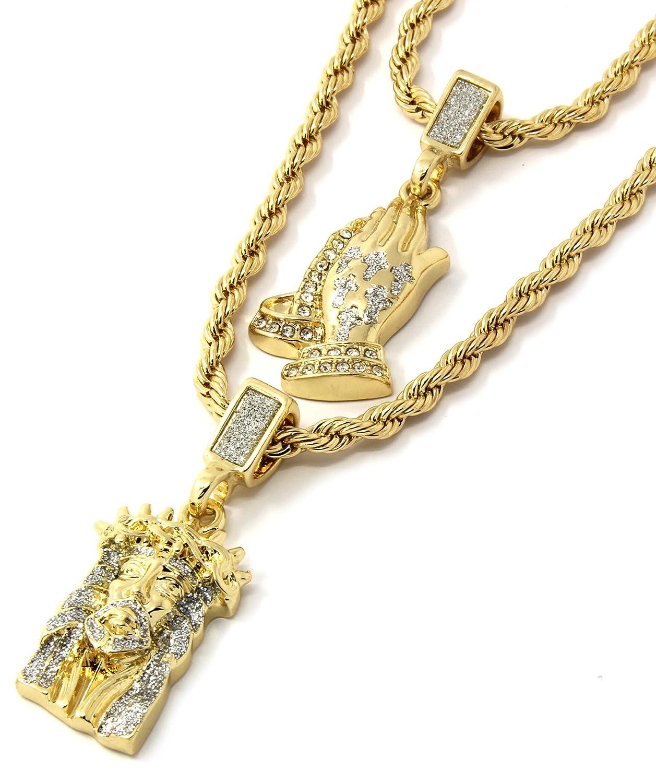 "Mens Gold Two Piece Iced Jesus & Prayer Hand Bundle Set Pendant Hip Hop 24"" & 30"" Rope Chain D219"
