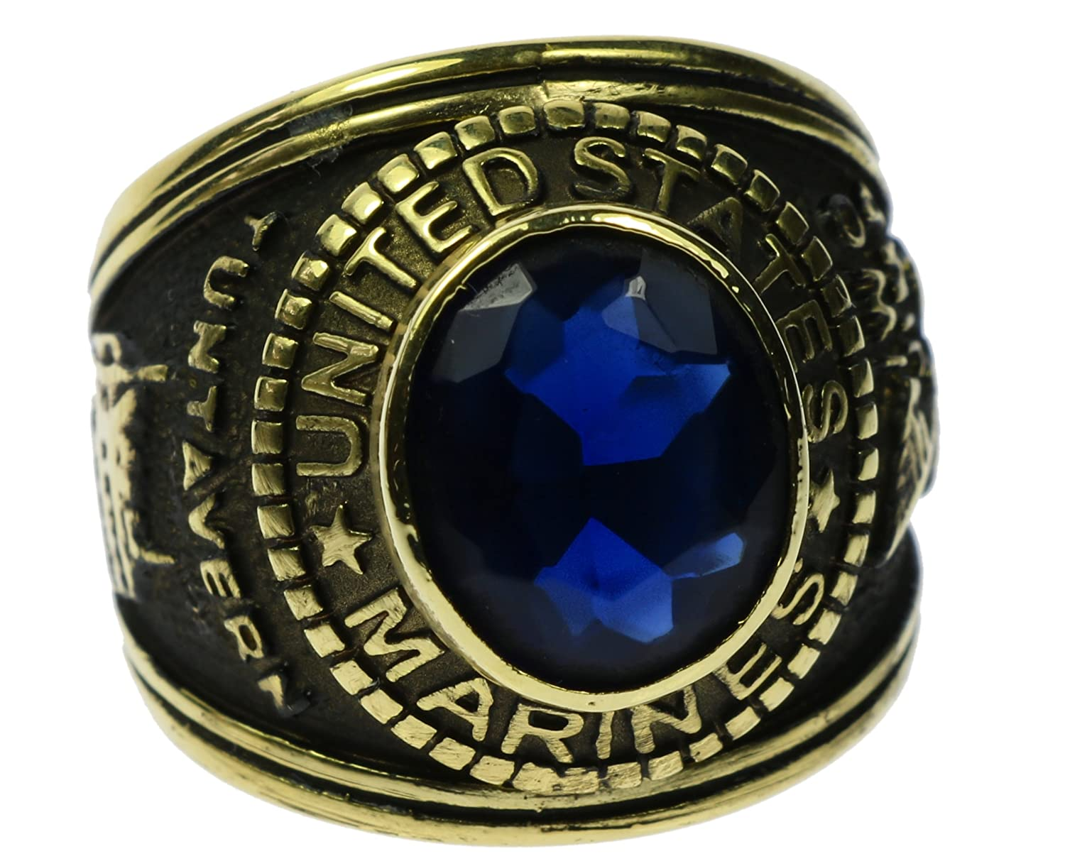 Marine Corps Casted 18K Gold Overlay Simulated Blue Sapphire Mens Ring