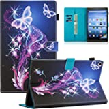 Dteck Case for All-New Amazon Fire HD 10 Tablet (7th Generation, 2017 Release) - Slim Fit PU Leather Folio Stand Smart Cover with Auto Wake/ Sleep for Fire HD 10.1 inch, Twinkle Butterfly