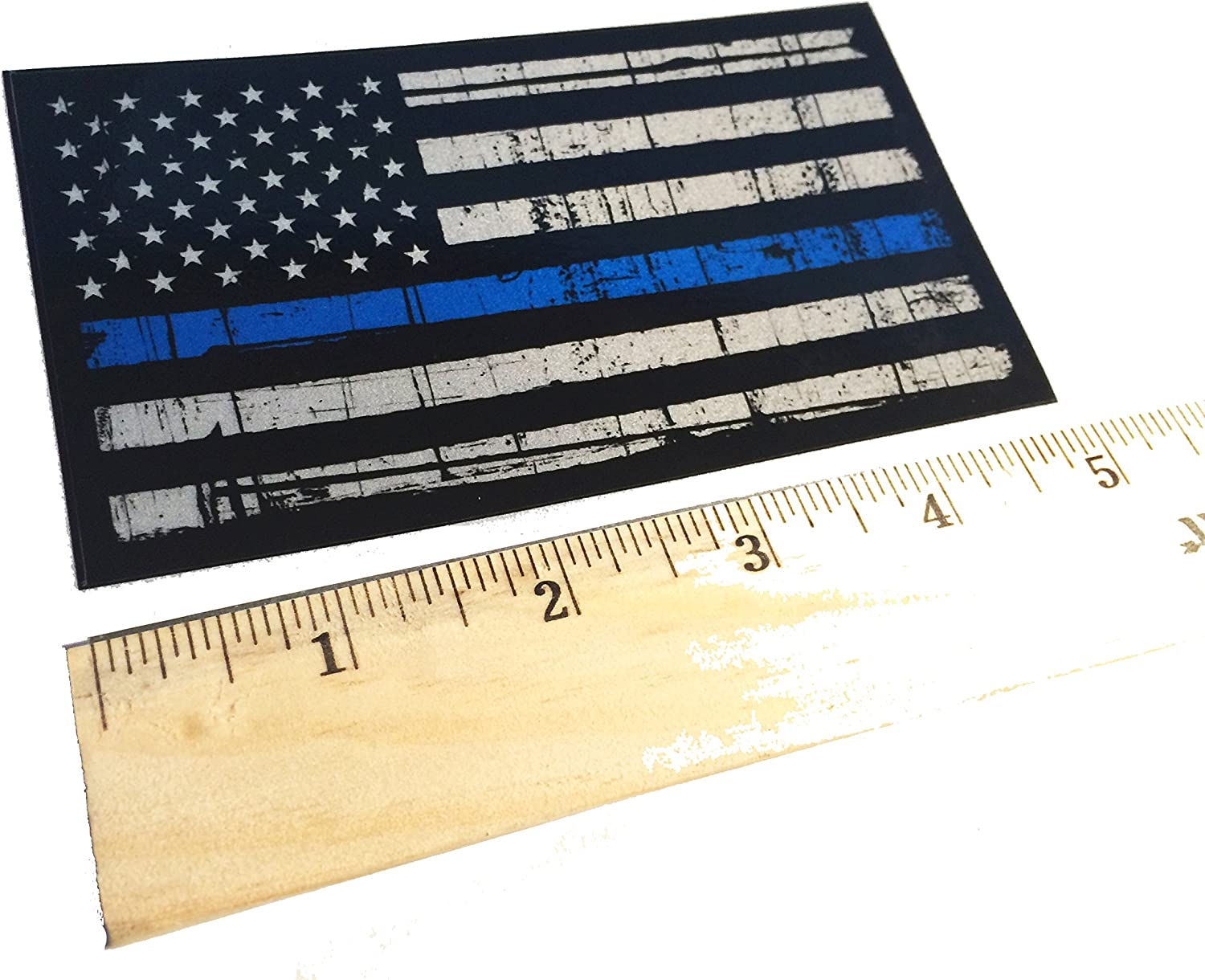 LARGE 5x3 inch reflective Tattered 3M Thin Blue Line Decal Sticker United States Us Flag Tactical Police Law Enforcement