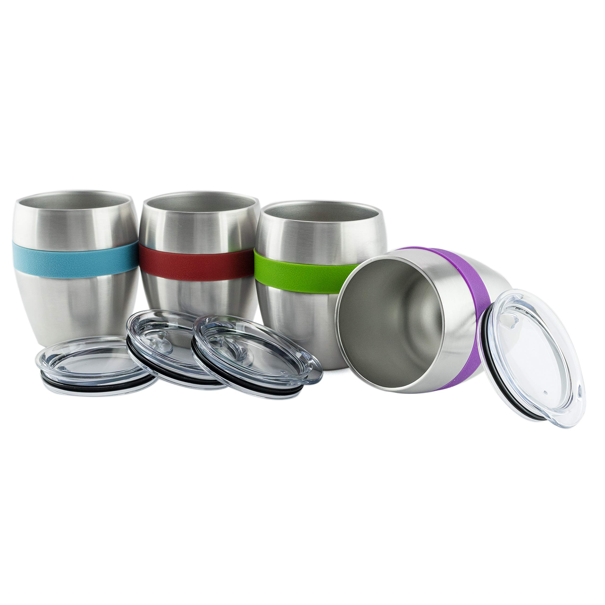 Stainless Steel Wine Glasses with Lids, Set of 4, Double Wall Insulated Stemless Wine and Drink Tumblers with Spill-Resistant Lids with Built -in 4 Color Comfort Grips by Chozin Steelware (Image #4)