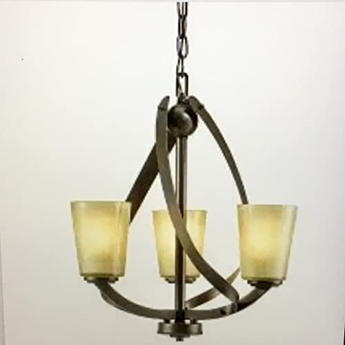KICHLER Layla 3-Light Olde Bronze Modern/Contemporary Tinted Glass Shaded Chandelier 34756