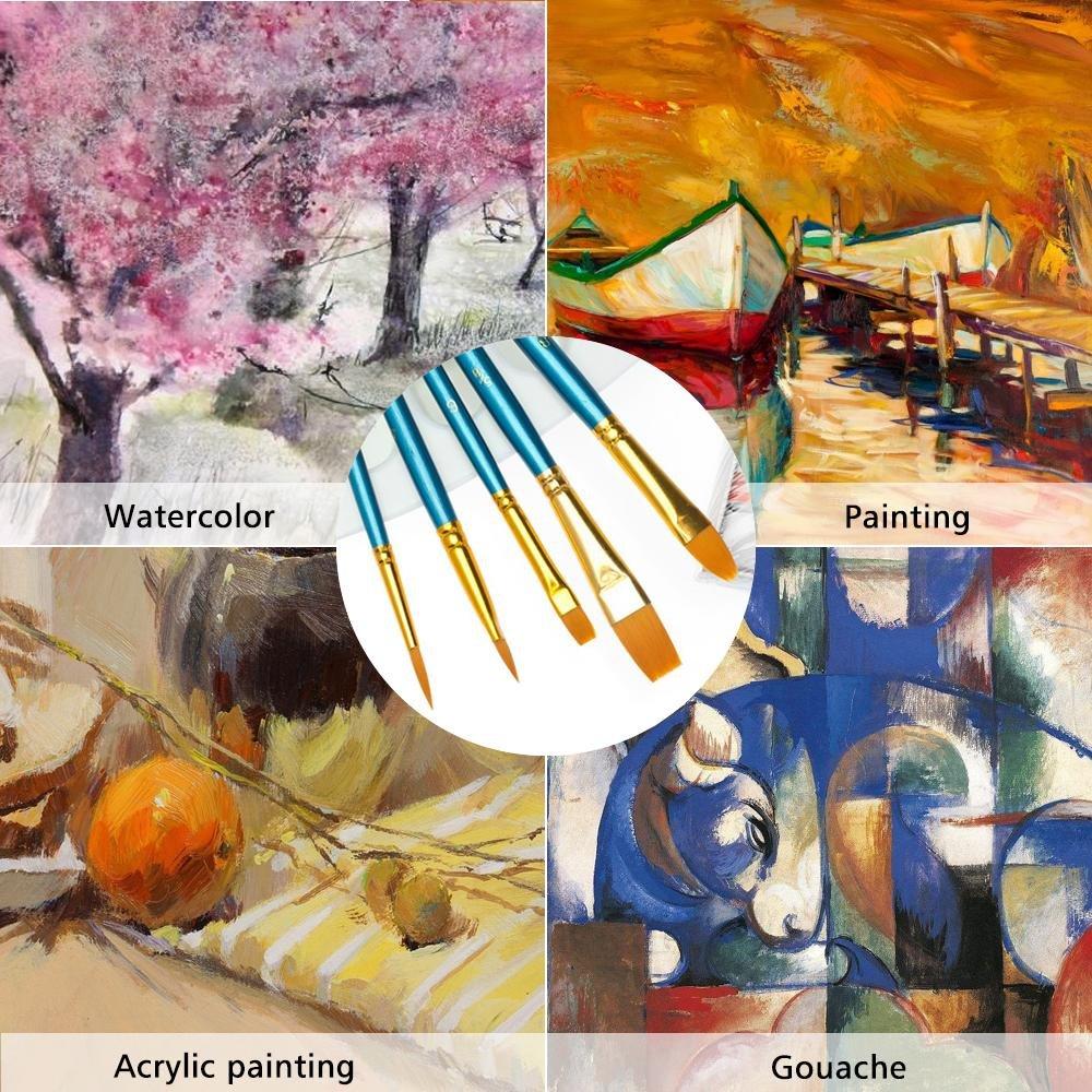 Peinture brosses 10/pcs Professional Pinceaux Artiste pour peinture /à lhuile aquarelle 5//8/8/6/4/5/3/2/1/2//0
