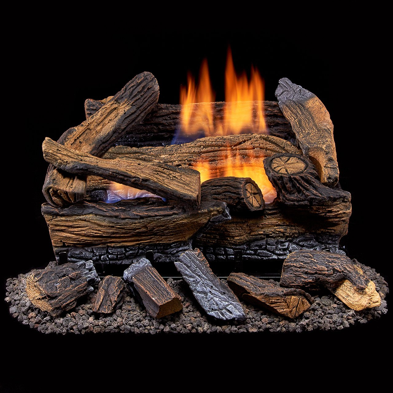 Duluth Forge Ventless Dual Fuel Gas Log Set-18 in, Split Red Oak - Remote Control by Duluth Forge