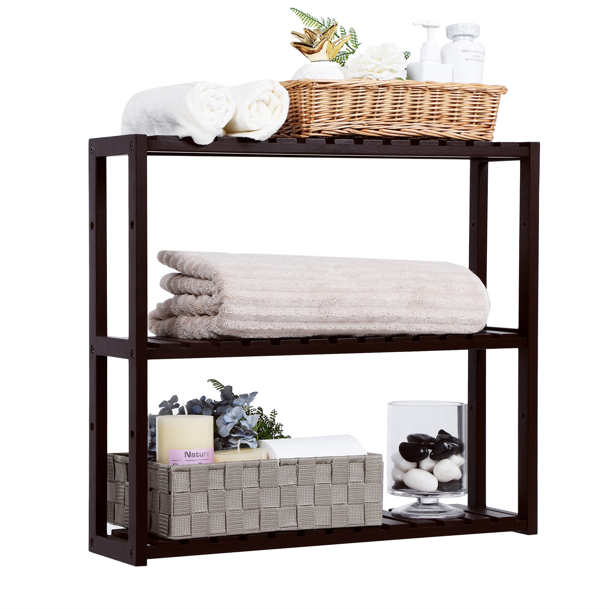 SONGMICS Bamboo Wood 3-Tier Utility Storage Shelf Rack Adjustable Layer Bathroom Towel Shelf Multifunctional Kitchen Living Room Holder Wall Mounted Brown UBCB13Z