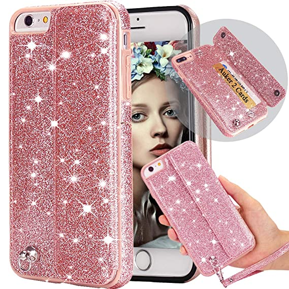 check out aa2bc 3f760 Amazon.com: iphone 6S Plus Wallet Case with Strap,Auker Bling ...