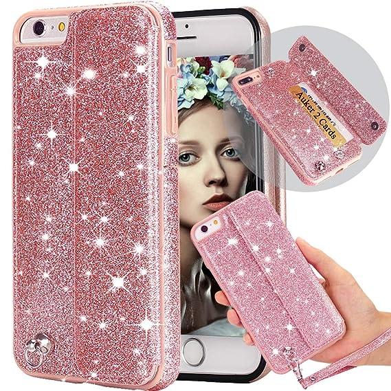eb9d8964835a Amazon.com: iphone 6S Plus Wallet Case with Strap,Auker Bling ...