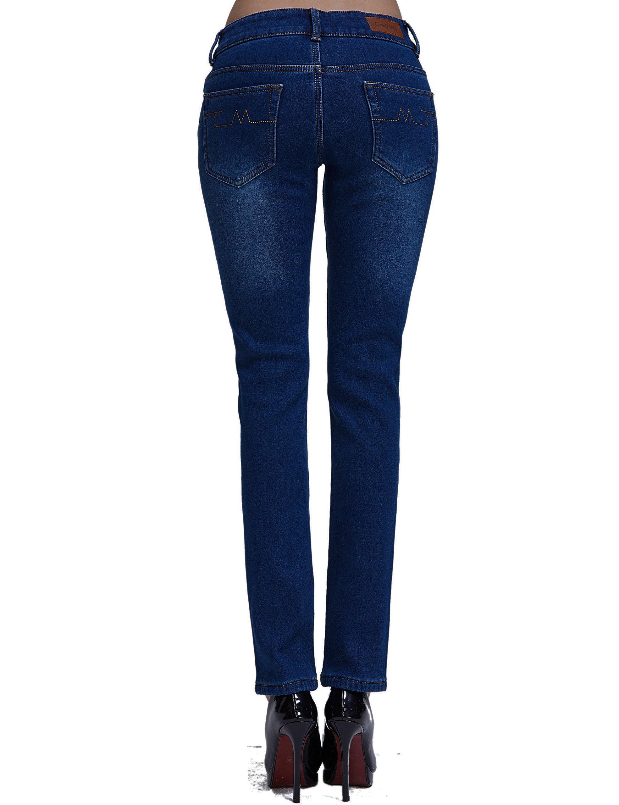 Camii Mia Women's Slim Fit Fleece Lined Jeans (W27 x L30, Blue (New Size)) by Camii Mia (Image #2)