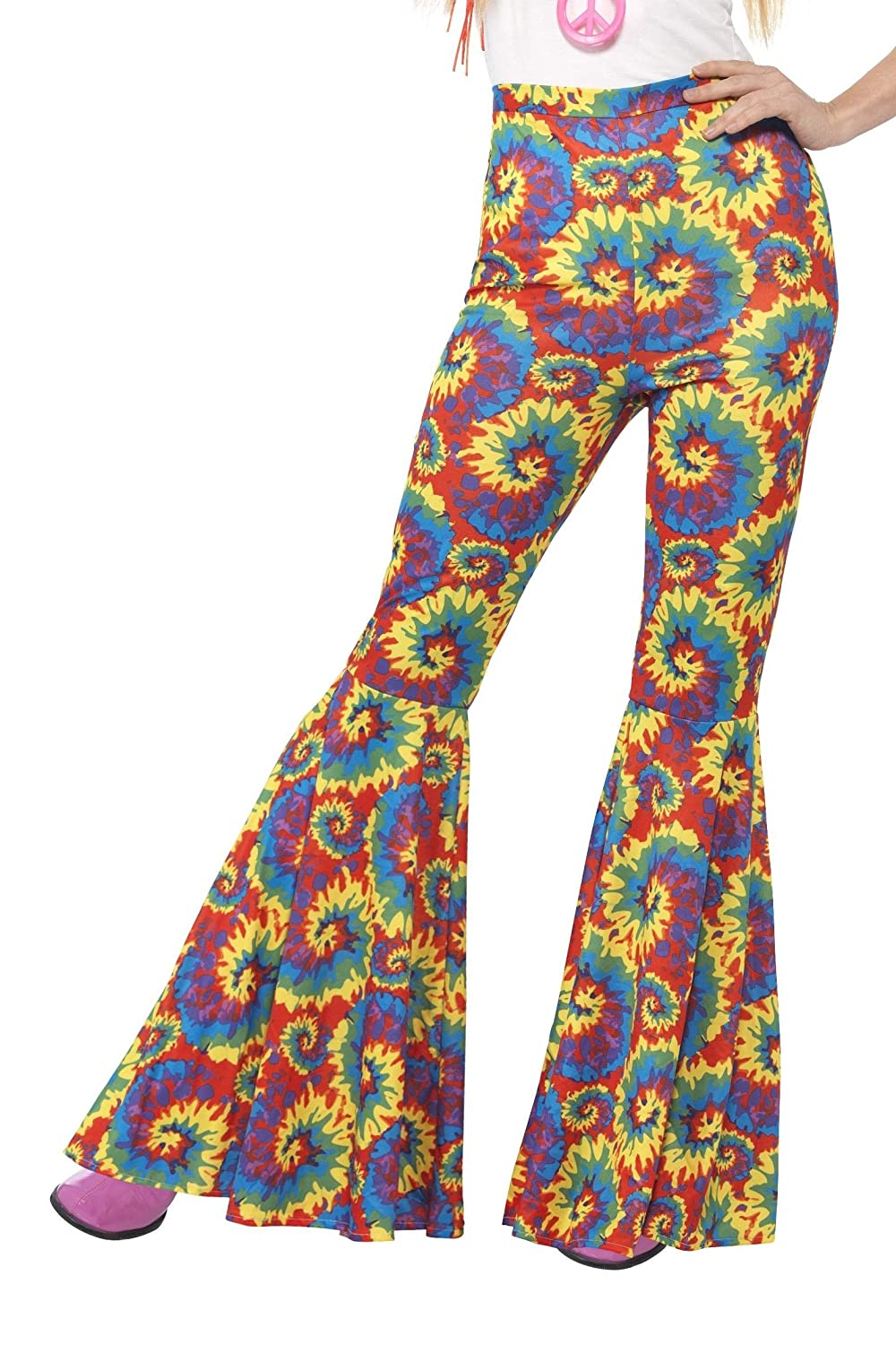Hippie Pants, Jeans, Bell Bottoms, Palazzo, Yoga Adults Womens 70s Flared Groovy Tie Dye Disco Pants Costume $26.97 AT vintagedancer.com