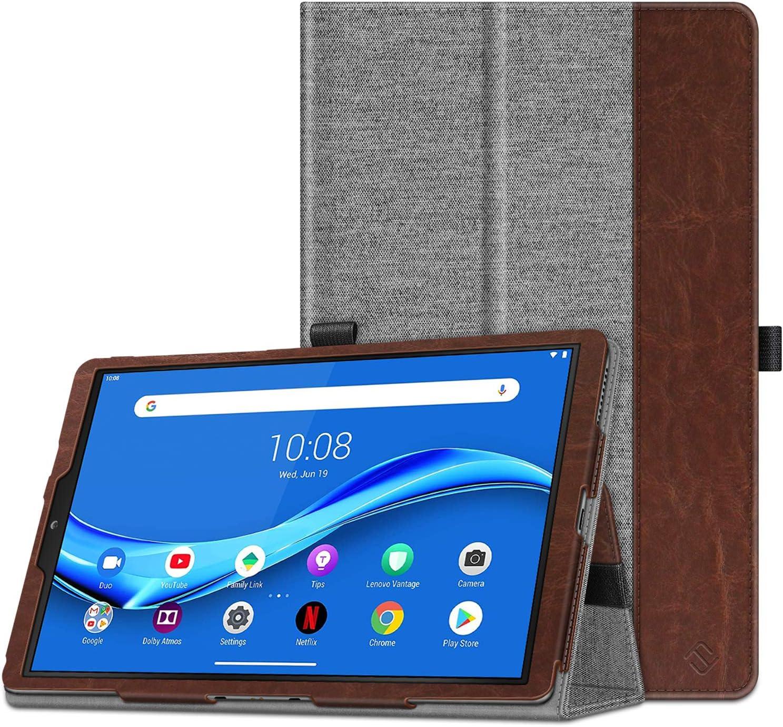 "CaseBot Case for Lenovo Tab M10 Plus, Premium PU Leather Folio Cover with Auto Sleep/Wake for Lenovo Tab M10 Plus TB-X606F / TB-X606X 10.3"" FHD Android Tablet, Denim Gray"