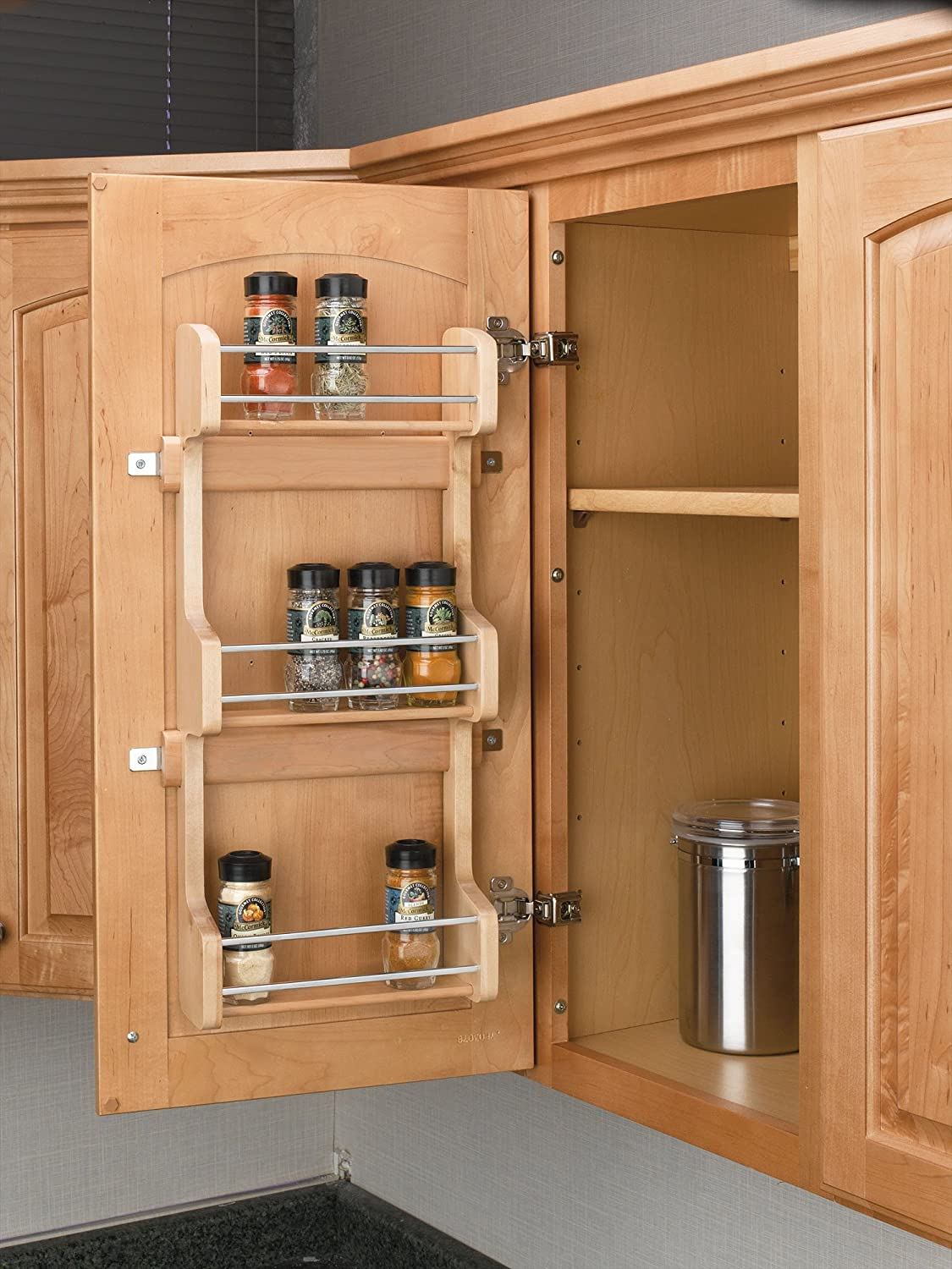 Amazon.com   Rev A Shelf   4SR 15   Small Cabinet Door Mount Wood 3 Shelf  Spice Rack