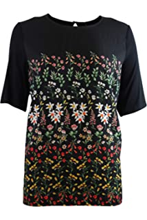78b7fcbd15a6 Highstreet Outlet Womens Black Top Short Sleeved Floral Print Shell Style