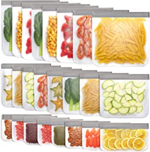 Jagrom 24 Pack Reusable Storage Bags 8 Gallon & 8 Sandwich Lunch Bags & 8 Small Kids Snack Bags For Food, EXTRA THICK Leak Proof Reusable Food Bags, Freezer Bags, Reusable Zipper Bags, BPA FREE, Grey