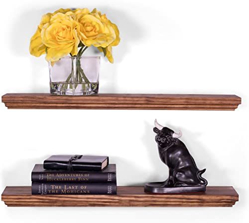 DAKODA LOVE Routed Edge Floating Shelves USA Handmade Wall Mounted Hidden Single Bar Floating Shelf Bracket Contemporary Pine Wood Set of 2 Bourbon, 24 L x 5.25 D