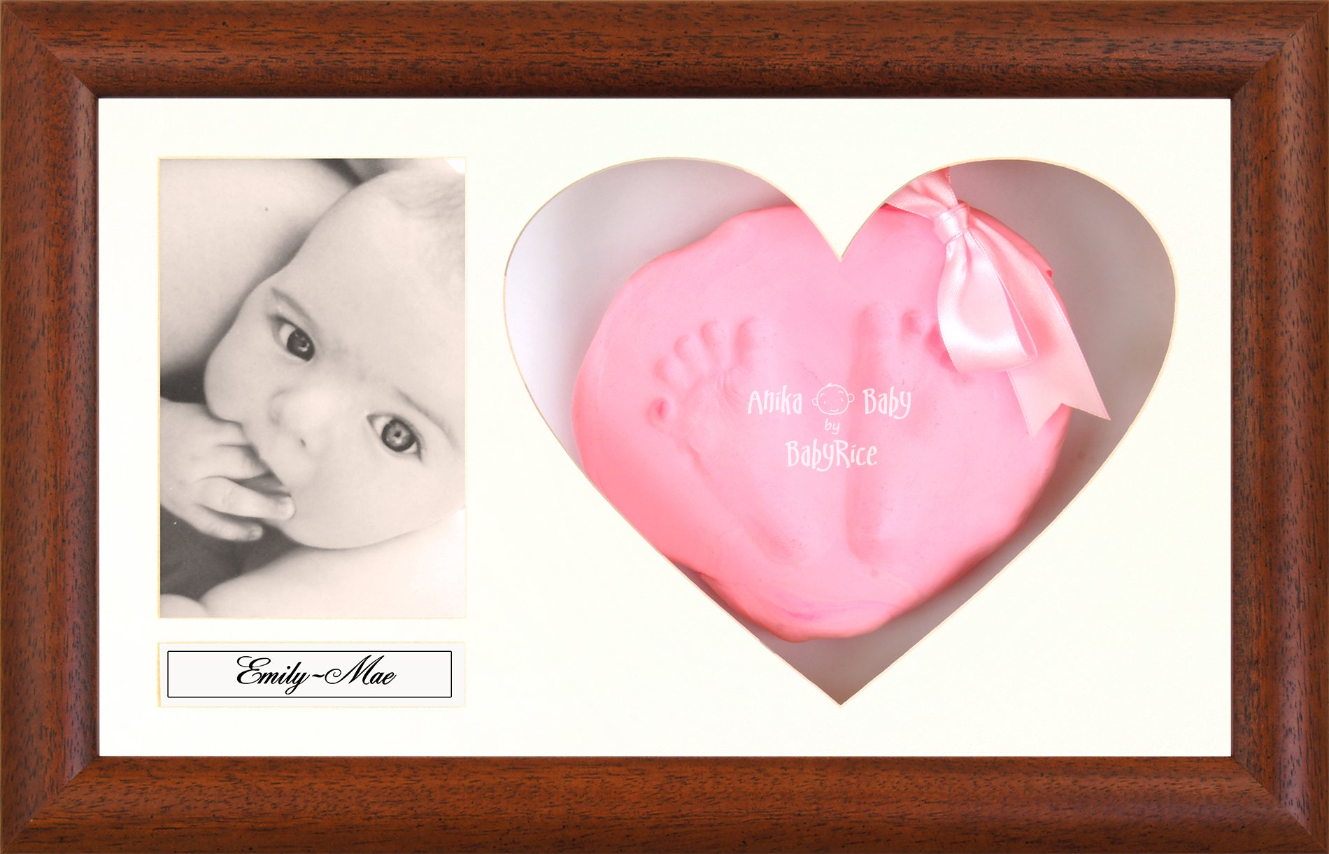 BabyRice Baby Soft Imprint Clay Hand & Footprint Kit / Dark Wood Effect Display Frame with Heart Mount - Choose Clay color (Baby Pink)