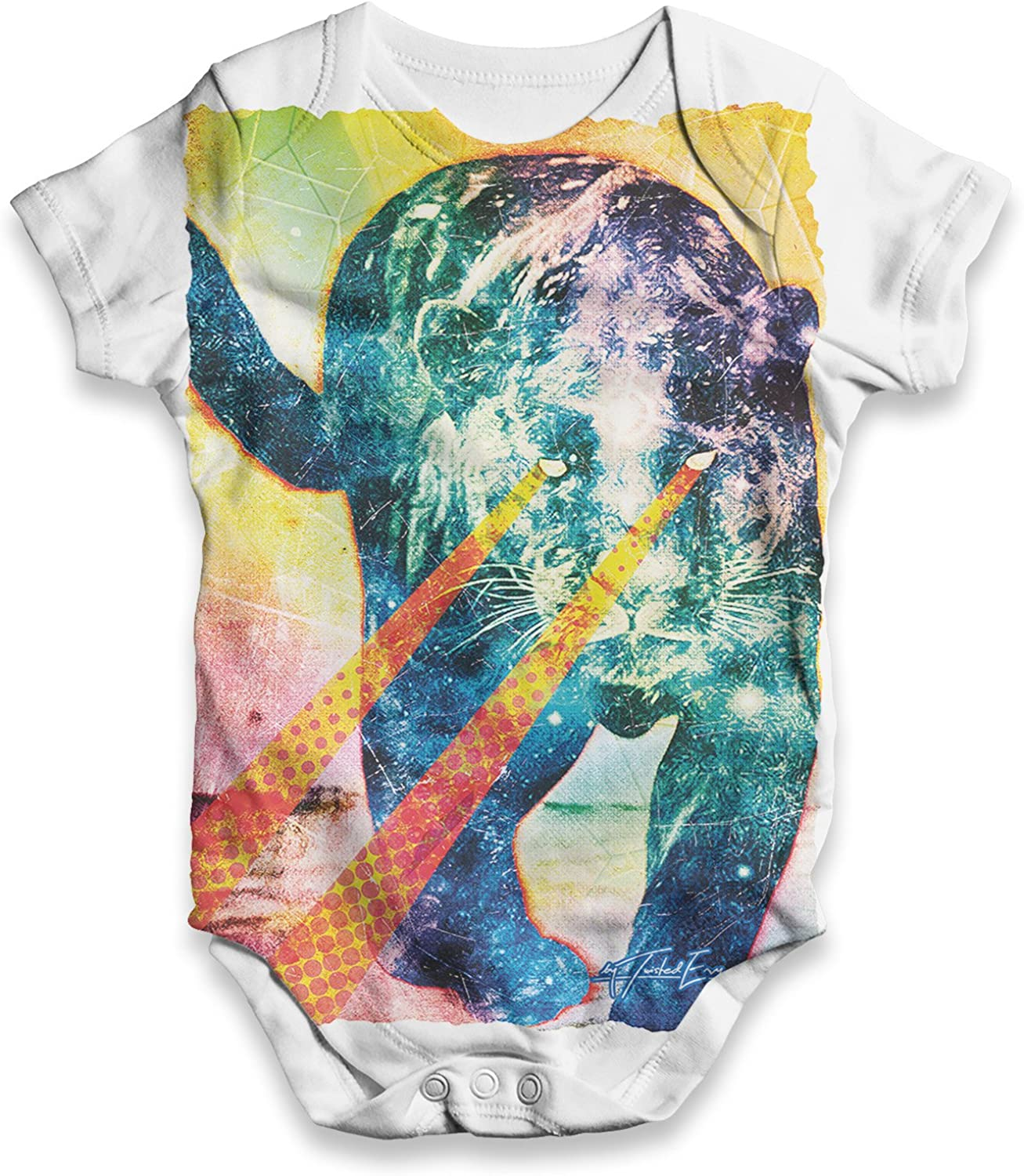 TWISTED ENVY Psychedelic Print Laser Eyes Tiger Baby Unisex Funny All-Over Print Bodysuit Baby Grow Baby Romper