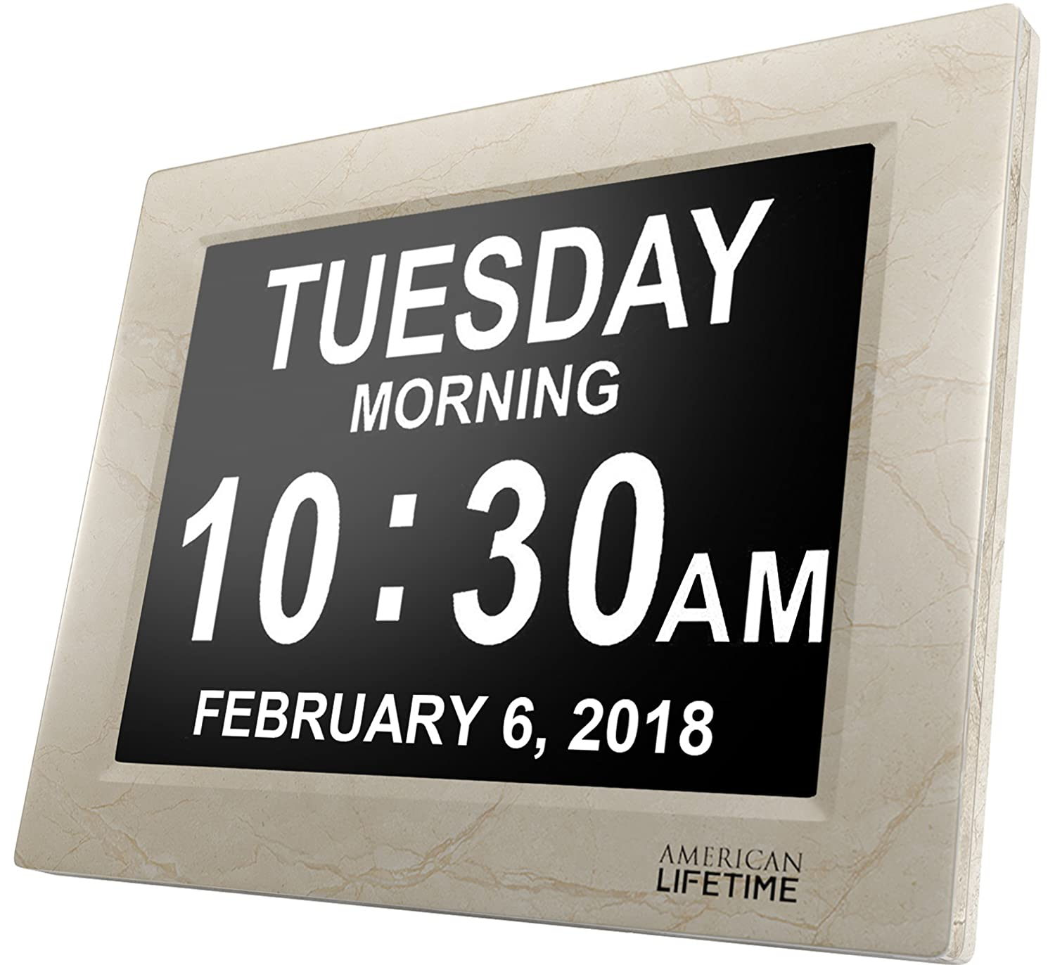 American Lifetime [Newest Version] Day Clock - Extra Large Impaired Vision Digital Clock with Battery Backup & 5 Alarm Options (Black Finish) DCB2