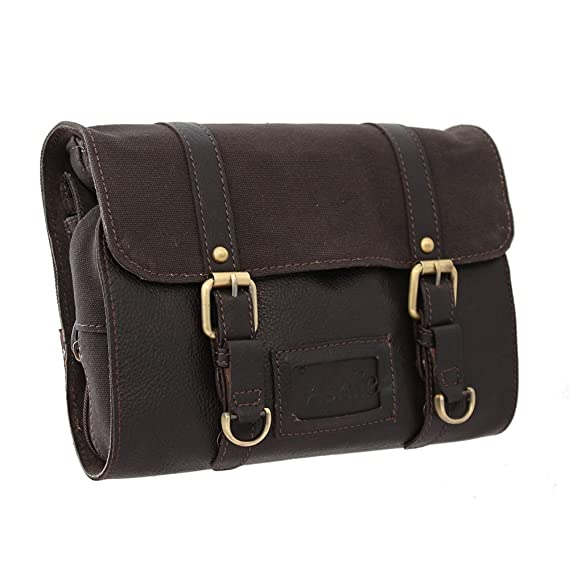 01f6fddf5f4 Ashwood Oiled Leather and Fabric Gents Hanging Washbag Brown  Amazon.co.uk   Clothing