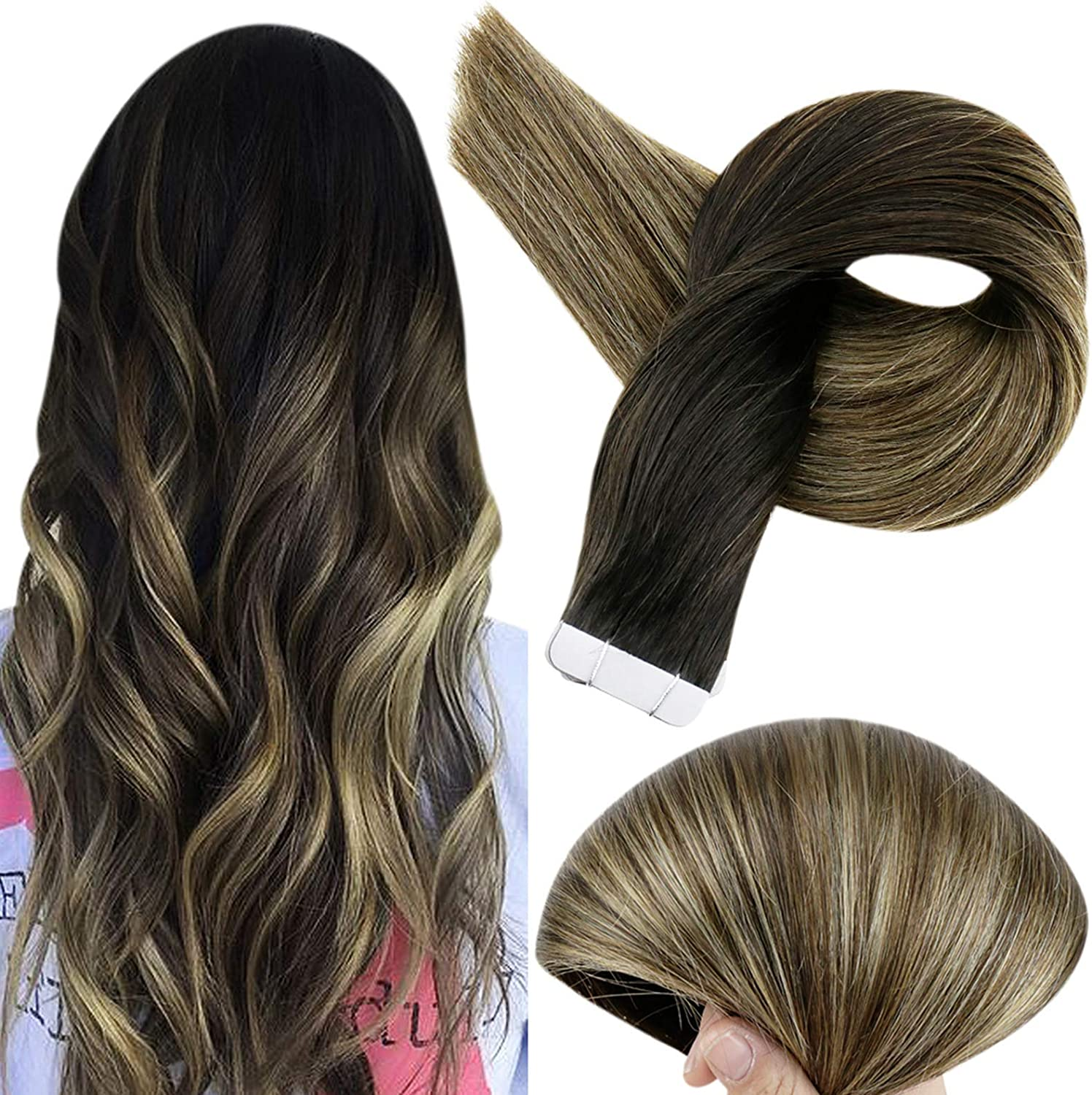 Full Shine Tape in Hair Extensiones Color 1B Fading to 6 and 27 Honey Blonde Highlighted Salon Quality Balayage Extensions Remy Cortina De Pelo ...