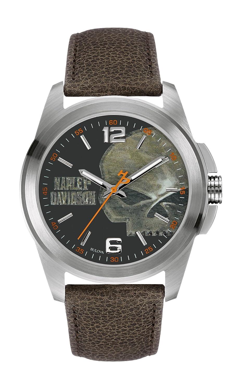 Harley Davidson Herren-Quarzuhr mit grauem Zifferblatt Analog-Anzeige und schwarzem Lederband 76 A146