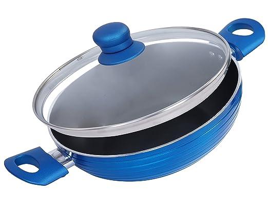 Nirlon Non-Stick Aluminium Kadhai, 2.5 litres, Blue/Black