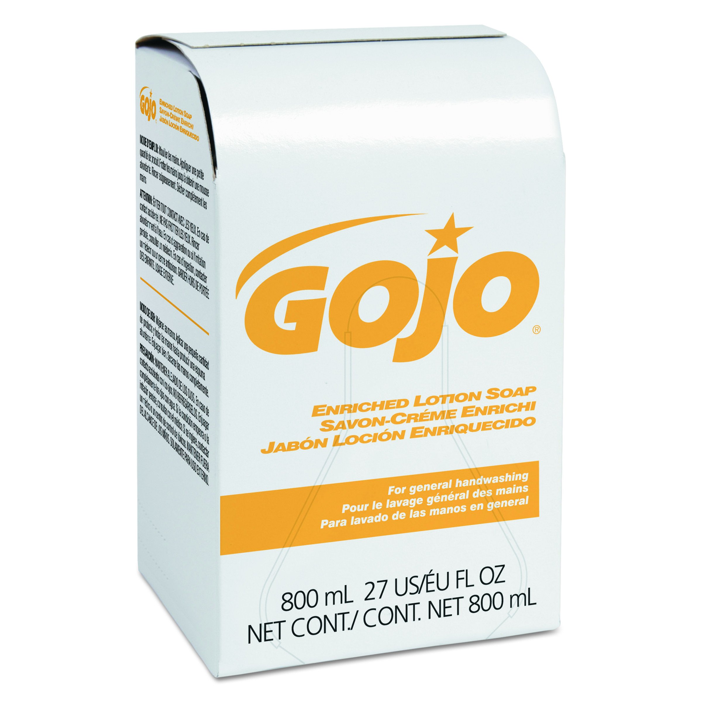 GOJO 910212CT Enriched Lotion Soap Bag-in-Box Refill, Herbal Floral, 800 mL (Case of 12)
