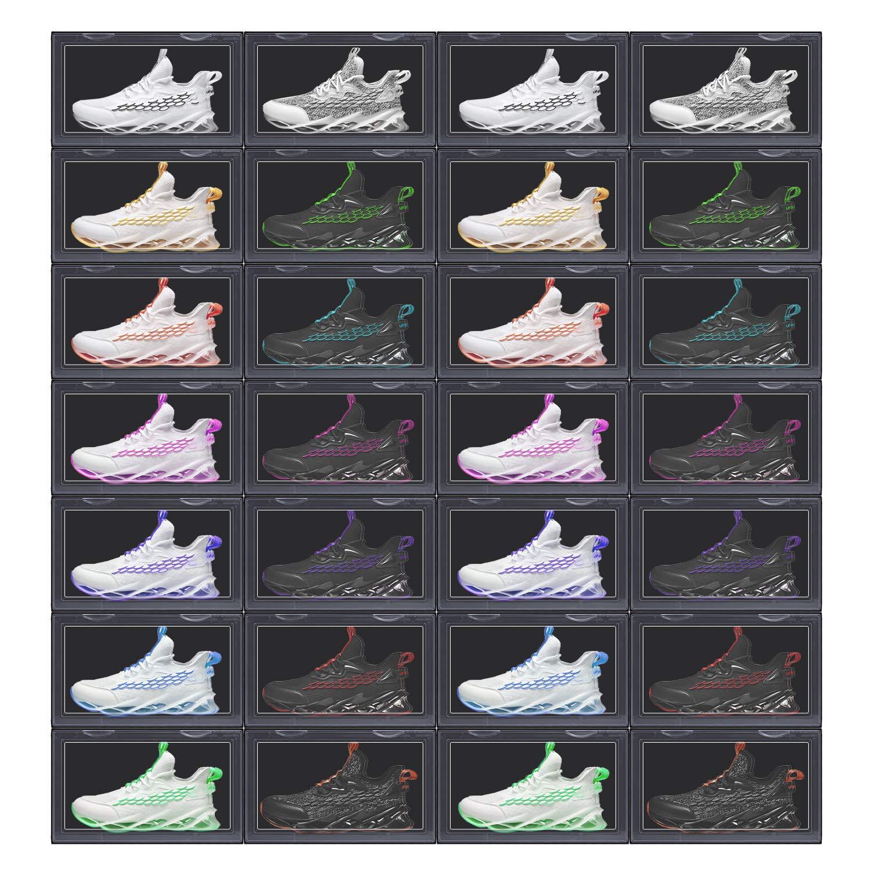 LOMOFI 2 pcs Shoe Box Clear Plastic Shoe Organiser Box Clear Side Drop Door for Collection Sneakers Limited Shoes-Black