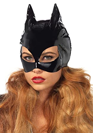 leg avenue womens vinyl cat woman mask costume accessory black one size