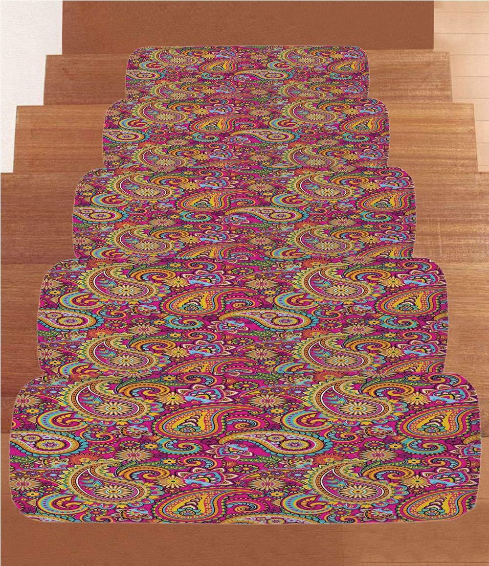 Amazon Iprint Coral Fleece Stair Treadspaisleypaisley