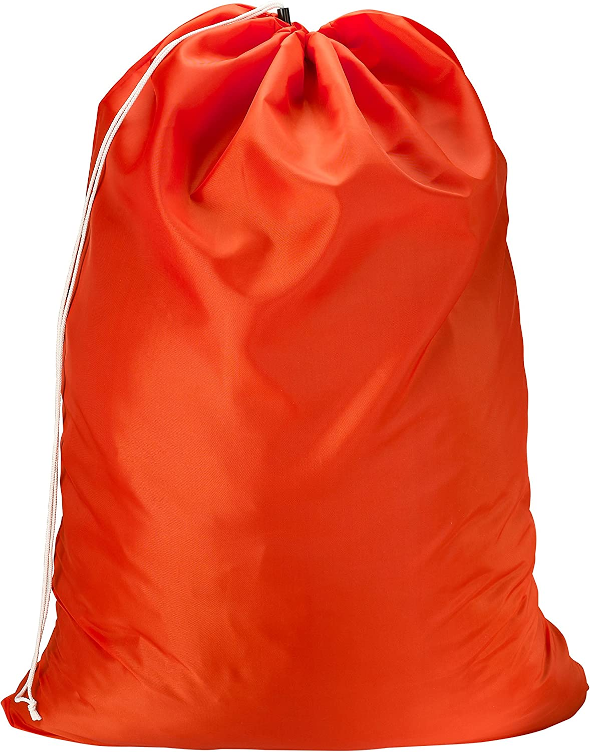 Nylon Laundry Bag - Locking Drawstring Closure and Machine Washable. These Large Bags Will Fit a Laundry Basket or Hamper and Strong Enough to Carry up to Three Loads of Clothes. (Orange)