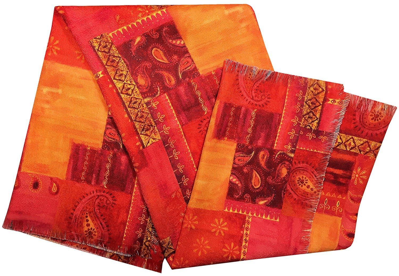 Manual Moroccan Paisley Pink Patchwork Lightweight Woven Throw Blanket SAMPP 50x60'' Orange Yellow