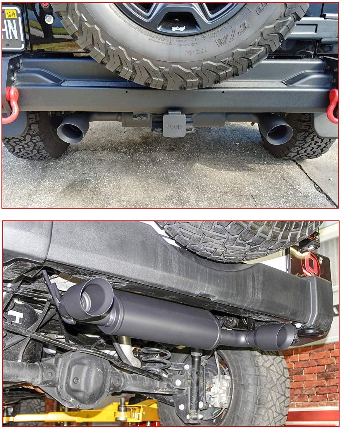 Black MOEBULB Dual Outlet Axle-Back Exhaust Tip System Kit for 2007-2017 Jeep Wrangler JK Dual Split Cat Back Exhaust Pipe
