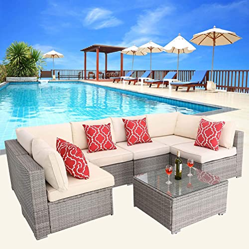 HTTH Outdoor Patio Furniture Wicker Sofa Sectional Outdoor All-Weather Bistro Set
