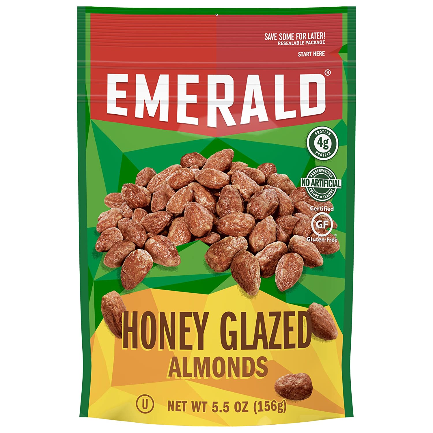 Emerald Honey Glazed Almonds, Stand Up Resealable Bag, 5.5 Ounce