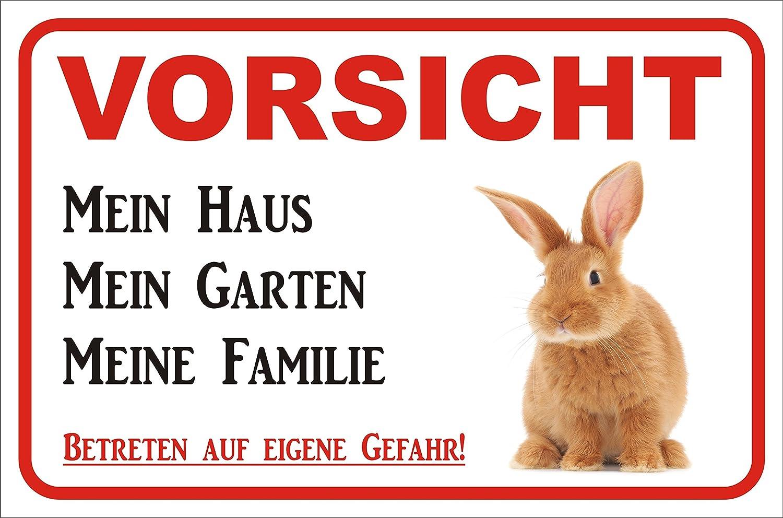 Blechschild 20x30 cm Schild Hier wache ich Kaninchen Hase Zwerghase Haustier