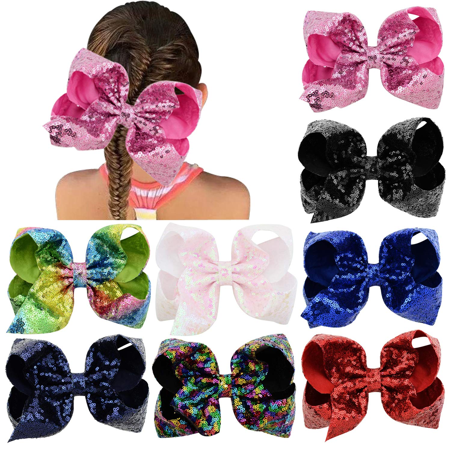 Big 8 Larger Sparkly Glitter Sequins Grosgrain Ribbon Hair Bows Barrettes Alligater Clips for Girls Teens Toddlers Kids Women ALinmo